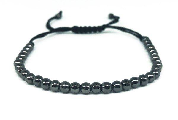 Fekete gyöngysor állítható karkötő