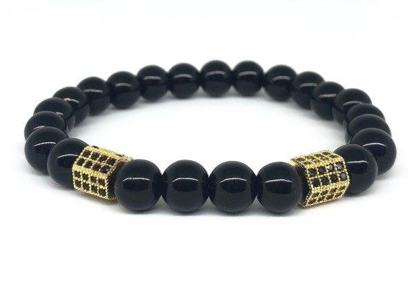 Arany hexagon fekete ónix férfi karkötő