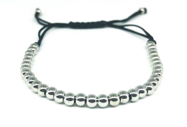 Ezüst gyöngysor állítható karkötő