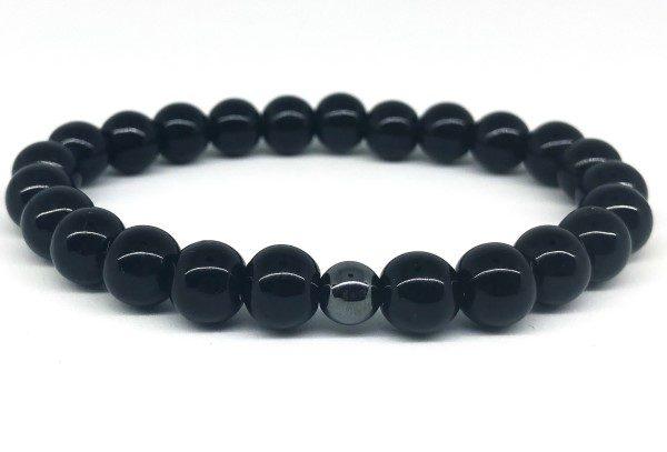 Fekete ónix ásvány karkötő