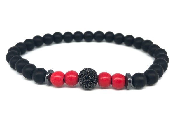 Fekete cirkon gömb piros achát ásvány karkötő