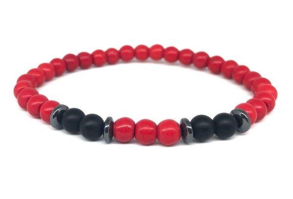 Piros fekete választós ásvány karkötő