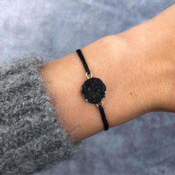 Fekete achát ásvány medál zsineg karkötő