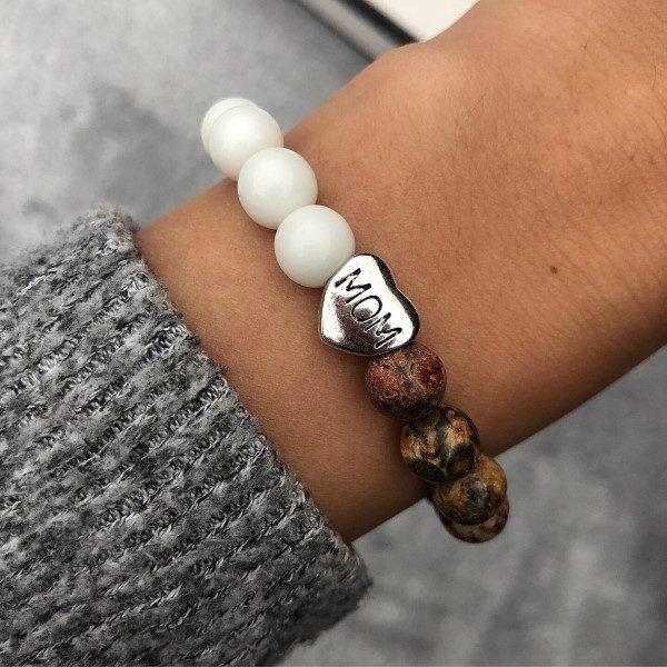 Ezüst mom charm leopárd jáspis karkötő