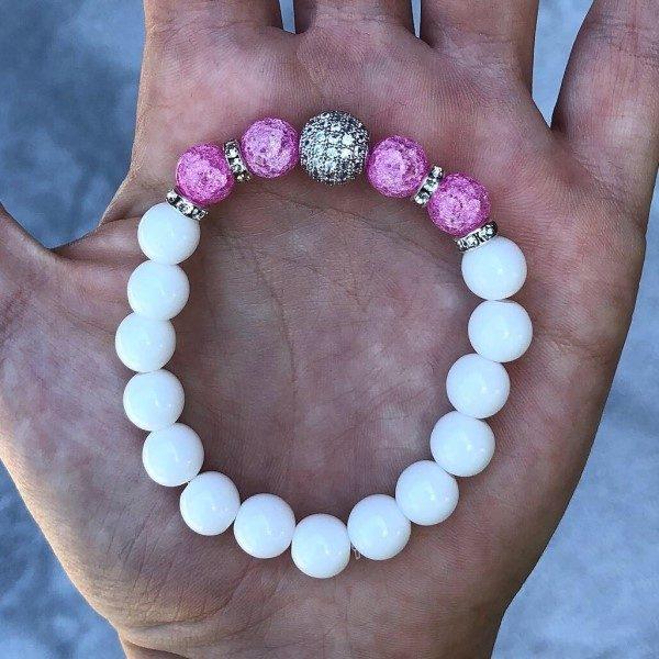 Ezüst cirkon gömb pink női karkötő