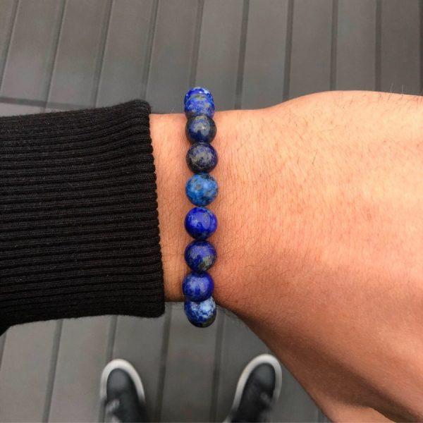 Kék lapis lazuli férfi ásvány gyöngy karkötő