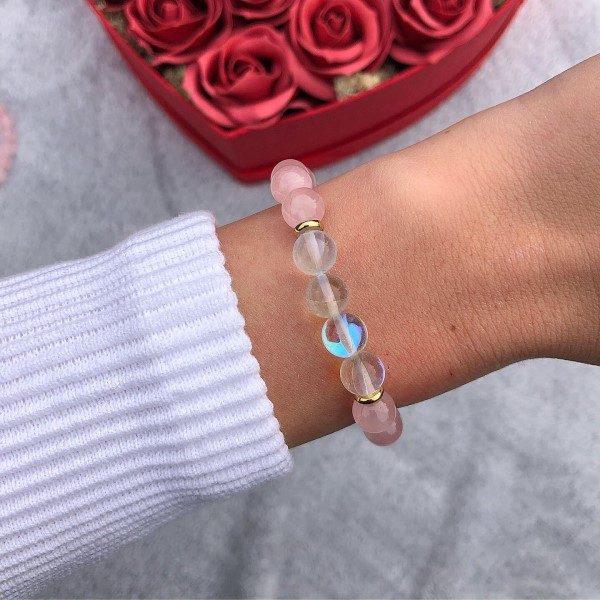 Rózsakvarc aura kvarc női ásvány gyöngy karkötő