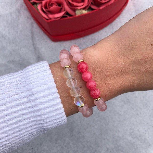 Rózsakvarc női ásvány gyöngy karkötő szett