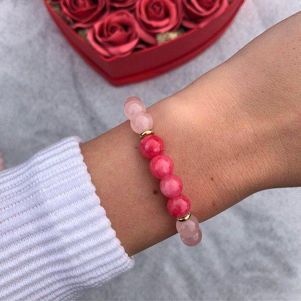 Rózsakvarc piros achát ásvány gyöngy karkötő