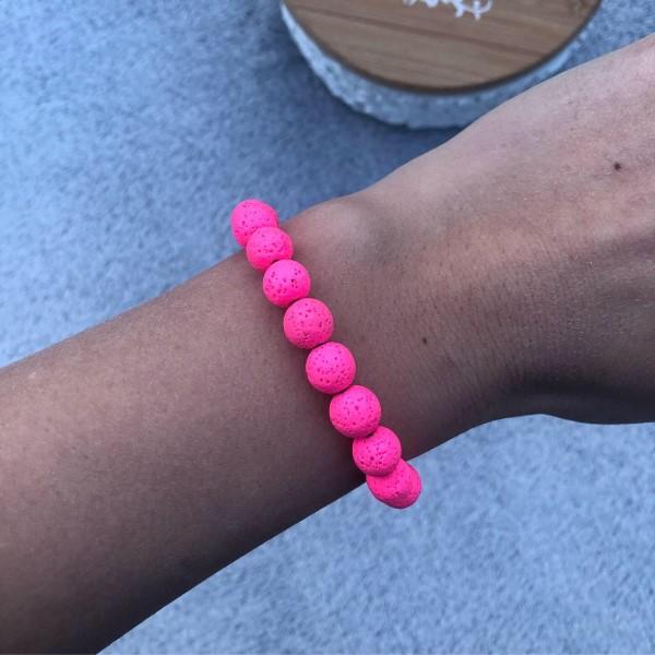 Neon pink lávakő karkötő