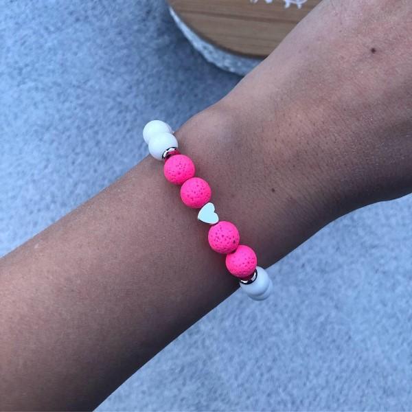 Neon pink szives karkötő