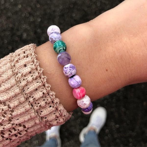 Pasztel lila női ásvány gyöngy karkötő