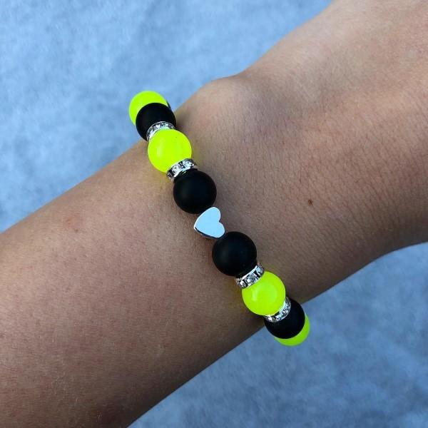 Neon sárga fekete karkötő
