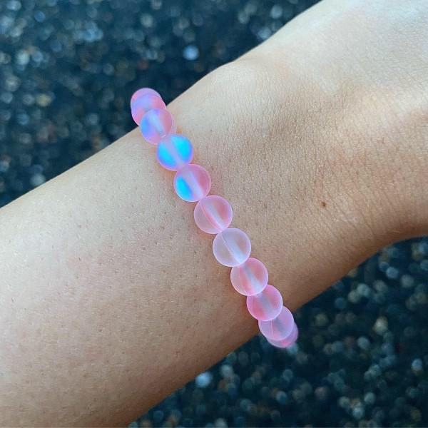 Pink aura kvarc karkötő