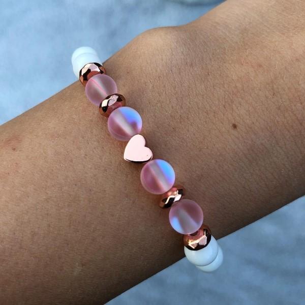 Rosegol szives pink aura kvarc karkötő