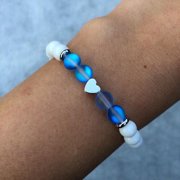 Kék aura kvarc karkötő